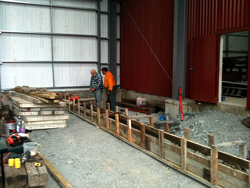 Steve and Colin building formwork for next rail beam
