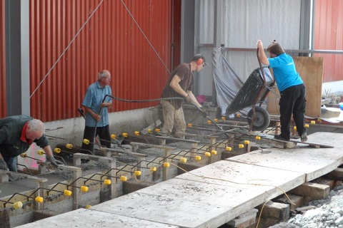 pouring concrete rail beam in the workshop