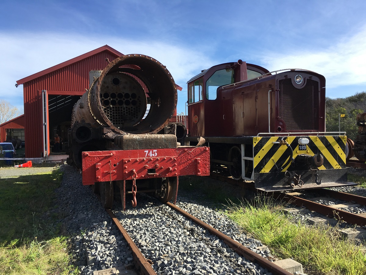 Ab745 and Tr189 standing outside the shed on 14 May 2016