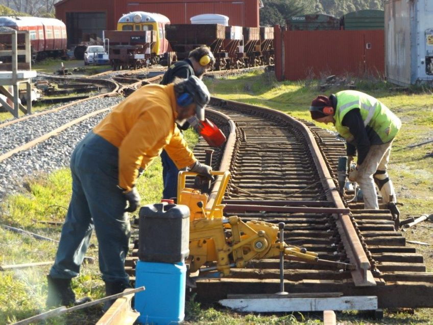 Cutting rail and installing sleepers on 5 September 2015