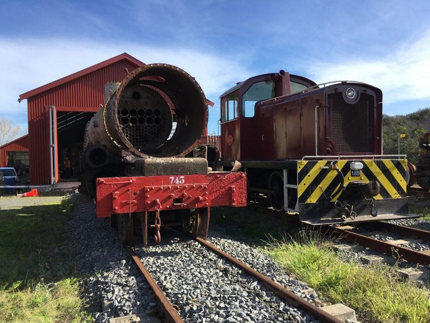 Ab 745 and Tr 189 outside rail vehicle shed