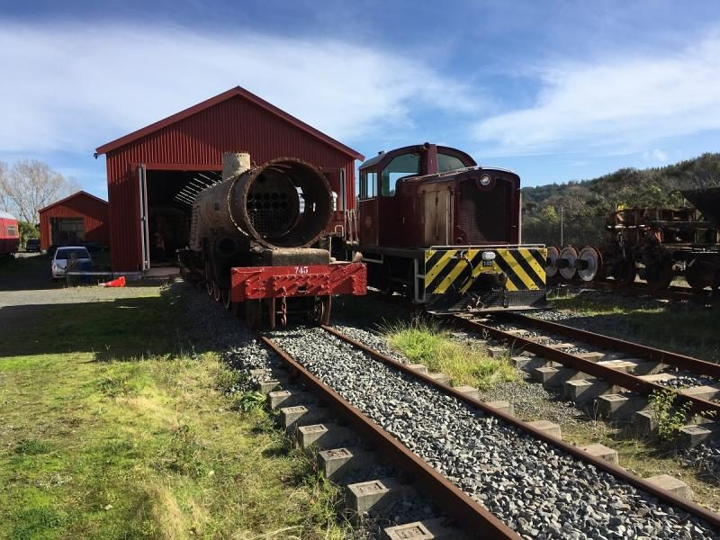 Another view of the two locomotives posed in front of the shed during the shunt movement